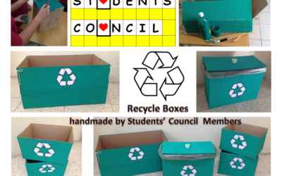 Recycling containers by Student Council